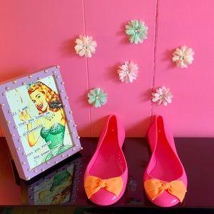 JCrew Rainy Day Jelly Ballet Flats Pink Orange Bow